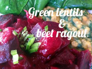 Beet ragout with spinach lentils