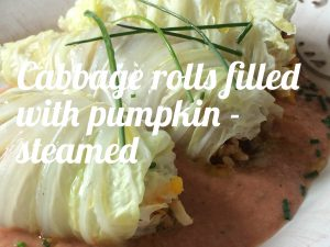 Cabbage rolls filled with pumpkin