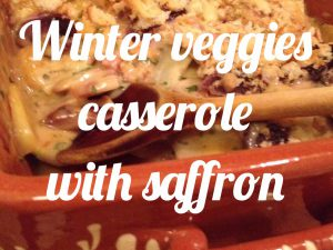 Winter veggies casserole with saffron