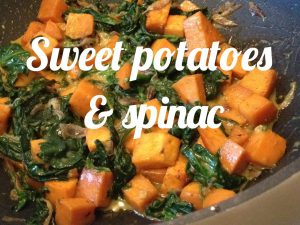 Sweet potatoes with spinac