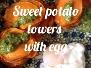 Sweet potato towers with egg